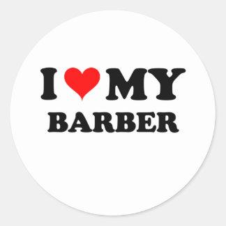 J'aime mon coiffeur autocollant rond