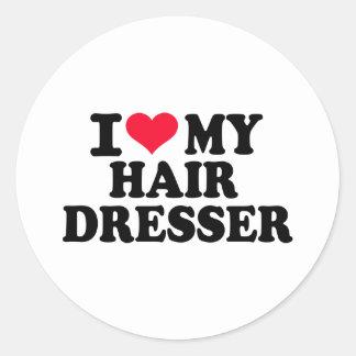 J'aime mon coiffeur sticker rond