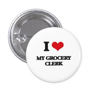 J'aime mon commis d'épicerie badges avec agrafe