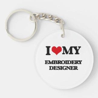 J'aime mon concepteur de broderie porte-clés