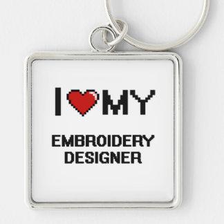 J'aime mon concepteur de broderie porte-clé carré argenté