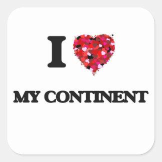 J'aime mon continent sticker carré