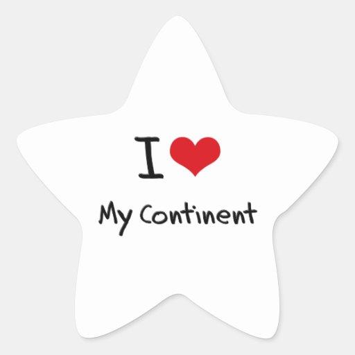 J'aime mon continent autocollants en étoile