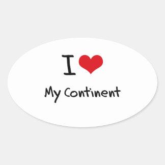J'aime mon continent autocollant ovale