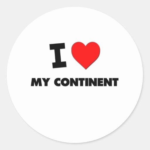 J'aime mon continent adhésif rond