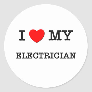 J'aime mon ÉLECTRICIEN Sticker Rond