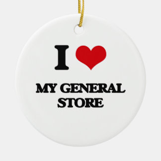 J'aime mon épicerie générale ornement rond en céramique