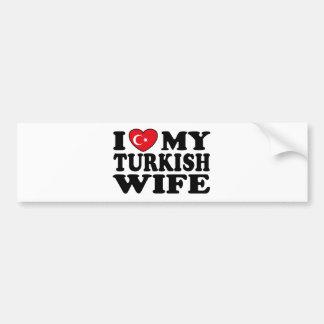 J'aime mon épouse turque autocollant pour voiture