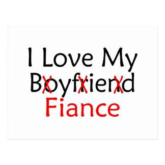 J'aime mon fiancé d'ami carte postale