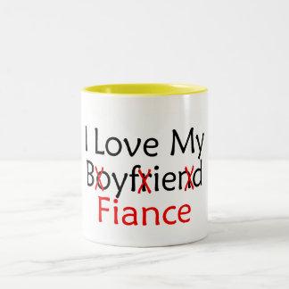 J'aime mon fiancé d'ami mug bicolore