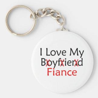 J'aime mon fiancé d'ami porte-clé rond