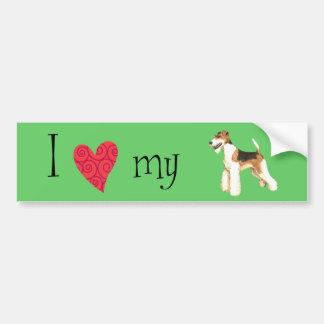 J'aime mon Fox Terrier de fil Autocollant De Voiture