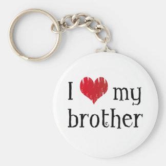 J'aime mon frère porte-clé rond