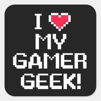 J'aime mon geek de Gamer Sticker Carré