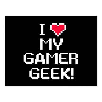 J'aime mon geek de Gamer Carte Postale
