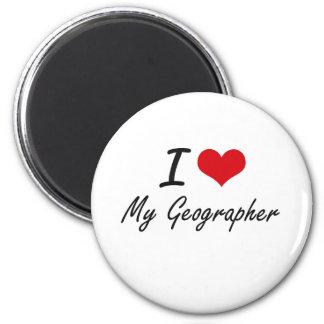 J'aime mon géographe magnet rond 8 cm