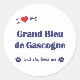 J'aime mon Grand Bleu de Gascogne (le chien Autocollants Ronds