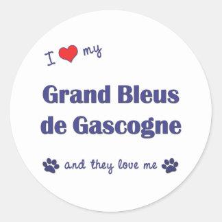 J'aime mon Grand Bleus de Gascogne (les chiens Adhésif Rond