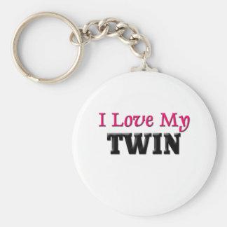 J'aime mon jumeau porte-clé rond