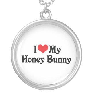 J'aime mon lapin de miel pendentif rond