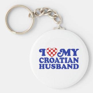 J'aime mon mari croate porte-clé rond