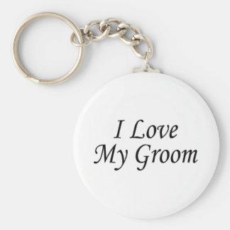 J'aime mon marié (la jeune mariée) porte-clé rond