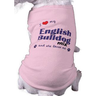 J'aime mon mélange anglais de bouledogue (le chien vêtements pour chien