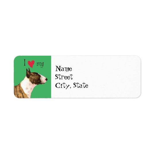 J'aime mon mini bull-terrier étiquette d'adresse retour