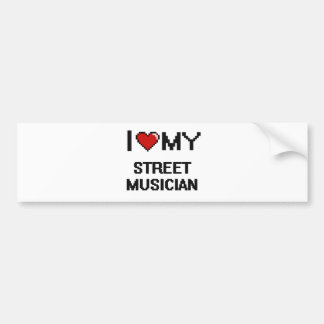 J'aime mon musicien de rue autocollant de voiture