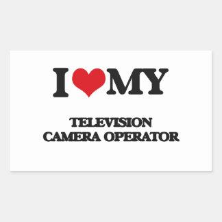 J'aime mon opérateur de caméra de télévision sticker en rectangle