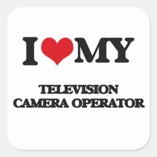 J'aime mon opérateur de caméra de télévision autocollant carré
