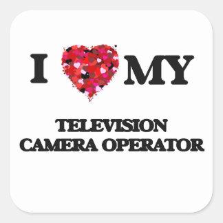 J'aime mon opérateur de caméra de télévision sticker carré