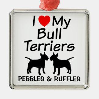 J'aime mon ornement de deux chiens de bull-terrier