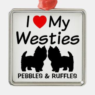 J'aime mon ornement de deux chiens de Westie