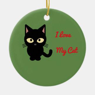 J'aime mon ornement de Noël de chat