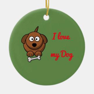J'aime mon ornement de Noël de chien