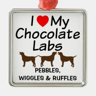 J'aime mon ornement de trois de chocolat chiens de