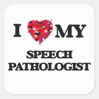 J'aime mon pathologiste de la parole sticker carré