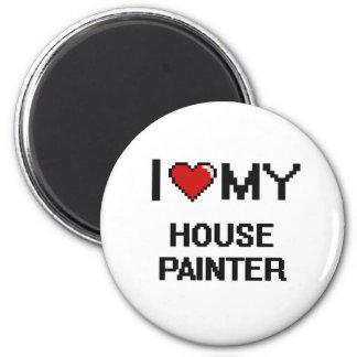 J'aime mon peintre de Chambre Magnet Rond 8 Cm