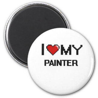 J'aime mon peintre magnet rond 8 cm
