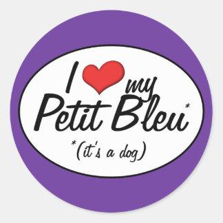J'aime mon petit Bleu (c'est un chien) Sticker Rond