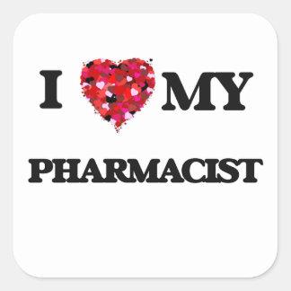 J'aime mon pharmacien sticker carré