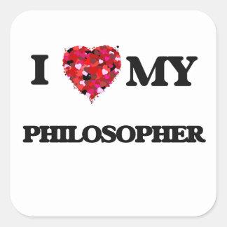 J'aime mon philosophe sticker carré