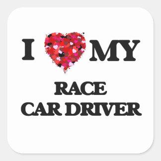 J'aime mon pilote de voiture de course sticker carré