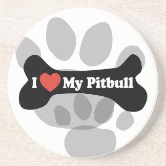 J'aime mon Pitbull - os de chien Dessous De Verre En Grès