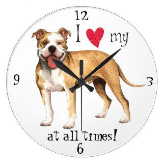 J'aime mon pitbull Terrier Grande Horloge Ronde