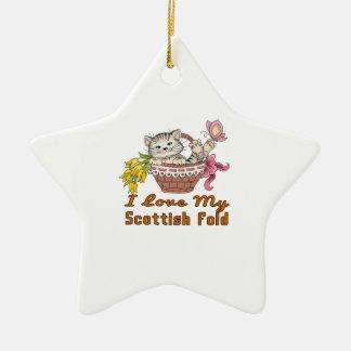 J'aime mon pli écossais ornement étoile en céramique