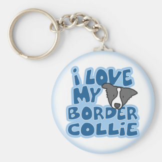 J'aime mon porte - clé de border collie porte-clé rond