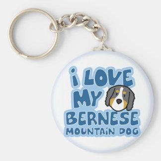 J'aime mon porte - clé de chien de montagne de porte-clé rond