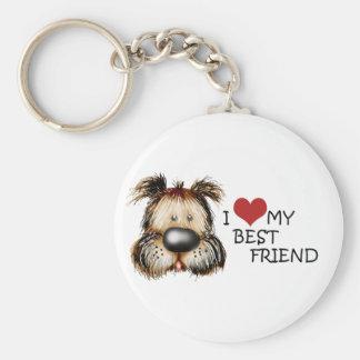 J'aime mon porte - clé de meilleur ami porte-clé rond